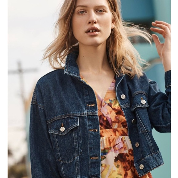2cec0d47fdc Anthropologie Pilcro Denim Trucker Jacket Crop